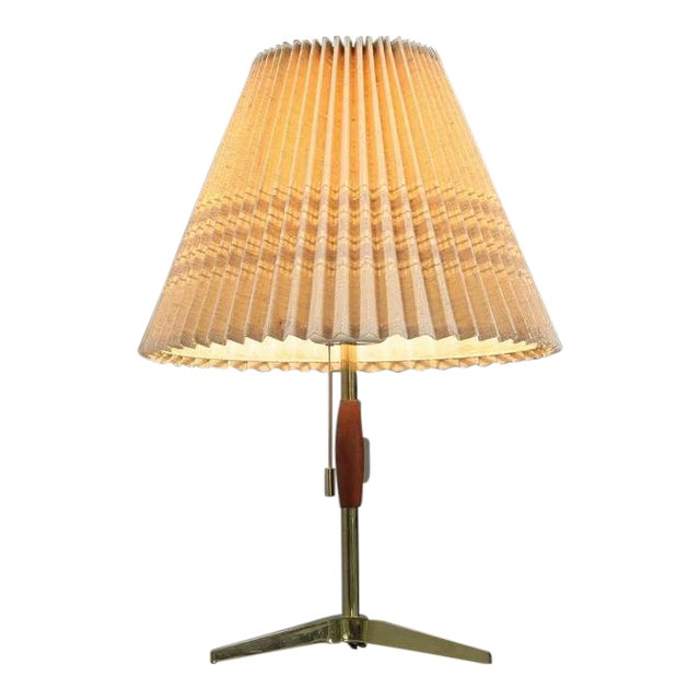 Brass And Wood Table Lamp With Pleated Fabric Shade, 1950s - Image 1 of 5