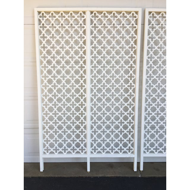 Boho Chic Mid-Century Modern Geometric White Wood Room Dividers - a Pair For Sale - Image 3 of 10