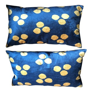 Boho Chic West Elm Blue and Gold Velvet Pillows - a Pair For Sale