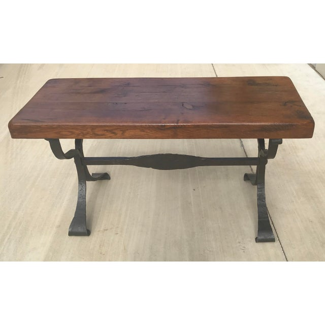 Late 20th Century Rustic French Iron Base Coffee Table For Sale In Dallas - Image 6 of 12