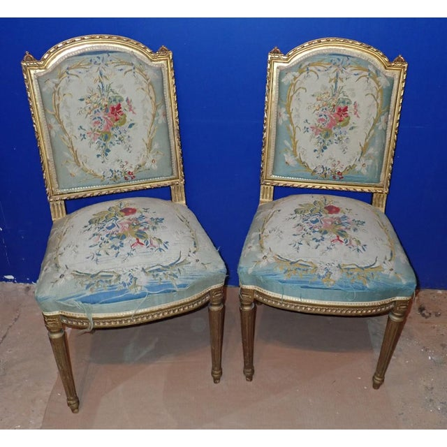 Mid 19th Century Louis XVI Petit Point Embroidered Chairs- A Pair For Sale - Image 11 of 11