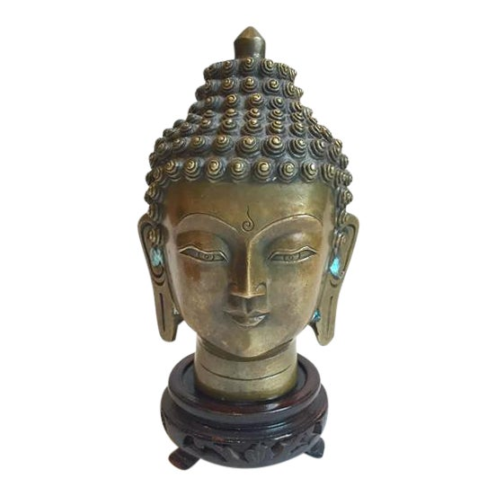 Vintage Tibetan Solid Brass Buddha Bust - Image 1 of 7