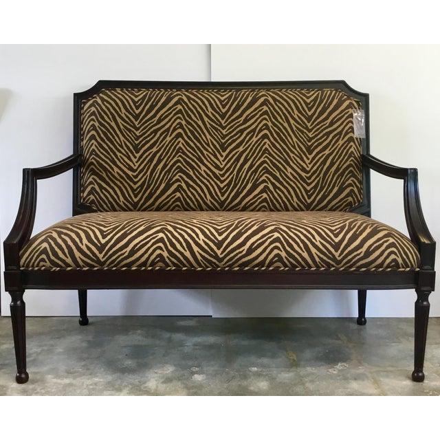 Brown Modern Zebra Pattern Settee For Sale - Image 8 of 8