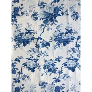 "Moving Sale - Ralph Lauren ""Climbing Rose"" in Blue & White Fabric - 2 Yards"