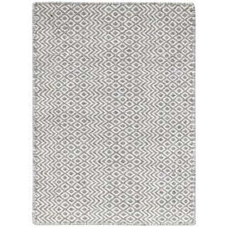 Bella Modern Silver Hand-Woven Rug 5'x8' For Sale