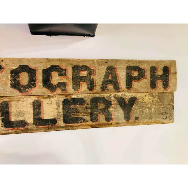 Awesome turn of the century wooden Photograph Gallery wooden trade sign. Originally from the Chicago area. Wood base with...