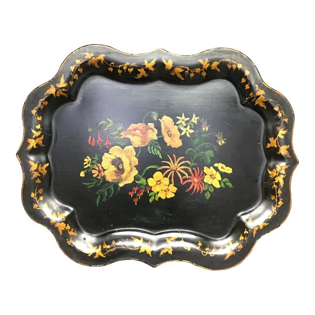 Vintage Tole Tray Black With Hand Painted Floral Design For Sale