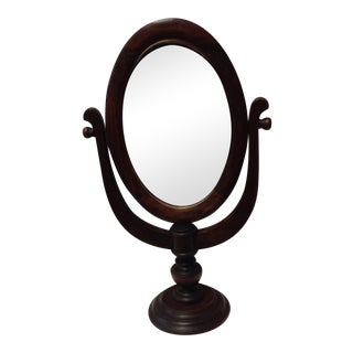 Vintage Oak Standing Vanity Mirror For Sale