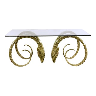 1970s Hollywood Regency Brass Ibex Head Dining Table For Sale