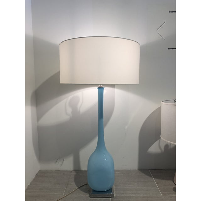 1950s Pair of 1950s Aquamarine Murano Glass Tall Lamps For Sale - Image 5 of 5