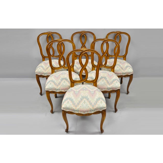 1950s Vintage French Provincial Pretzel Back Spiral Carved Dining Chairs- Set of 6 For Sale - Image 13 of 13