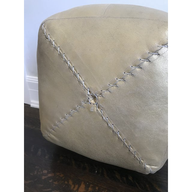 Gold Metallic Leather Pouf by Dosa For Sale - Image 4 of 5