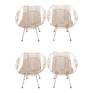 Woodard Wrought Iron Garden Armchairs - Set of 4