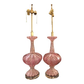 1950s Unusual Pink Seguso Murano Italian Art Glass Lamps - a Pair For Sale
