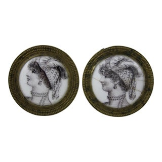 18th C. English Battersea Enamel Curtain Tiebacks- A Pair