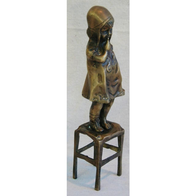 Vintage Juan Clara Style Bronze Girl on Chair For Sale - Image 4 of 6