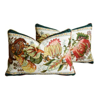 "Brunschwig & Fils Portugaise Floral & Velvet Feather/Down Pillows 24"" X 16"" - Pair For Sale"
