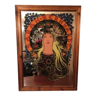 Mucha Style Art Nouveau Sarah Bernhardt Mirrored Wall Accent For Sale