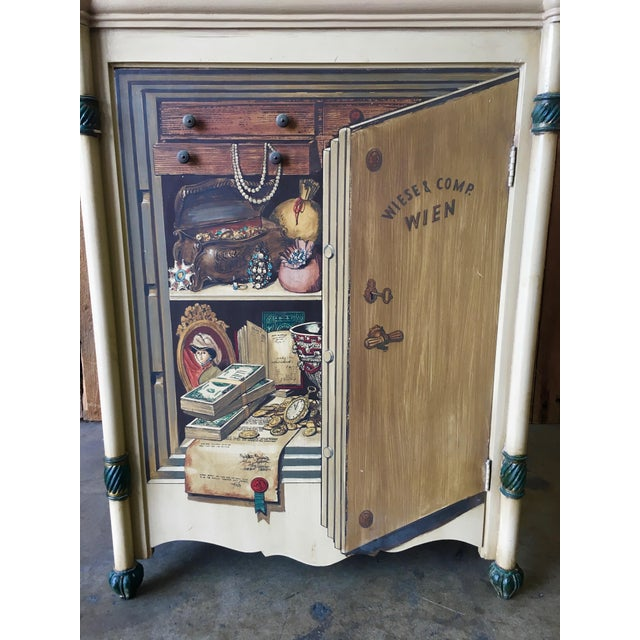 "Italian 20th Century Italian Palladio ""Trompe L'oeil"" Hand Painted Wood Cabinet For Sale - Image 3 of 13"