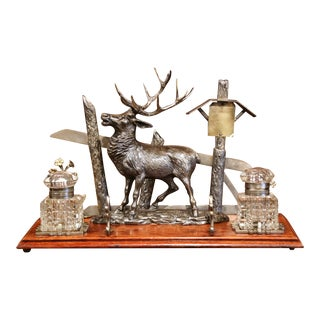 Mid 20th Century French Spelter and Cut Glass Inkwell With Deer Sculpture For Sale