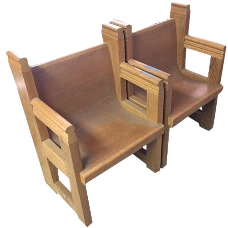 Church-Sourced Deacon's Chairs - A Pair - Image 1 of 3