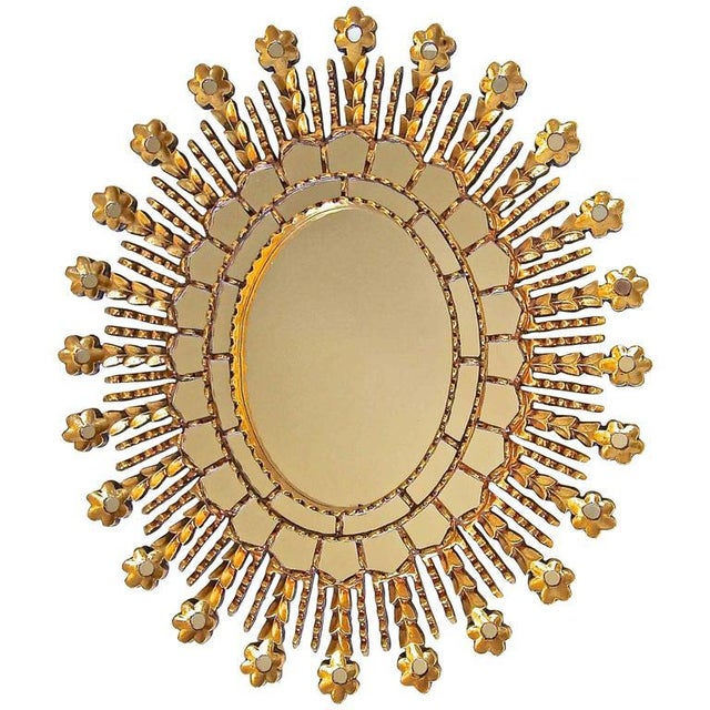 Sunburst Giltwood Oval Spanish Colonial Wall Mirror For Sale - Image 10 of 10