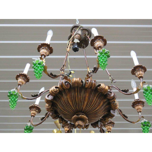 Early 20th Century Italian Tole and Crystal Chandelier For Sale - Image 5 of 8