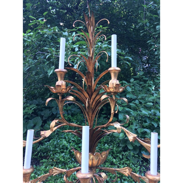 1950s Hollywood Regency Gilt Lighted 8-Arm Wall Sconce For Sale - Image 5 of 9