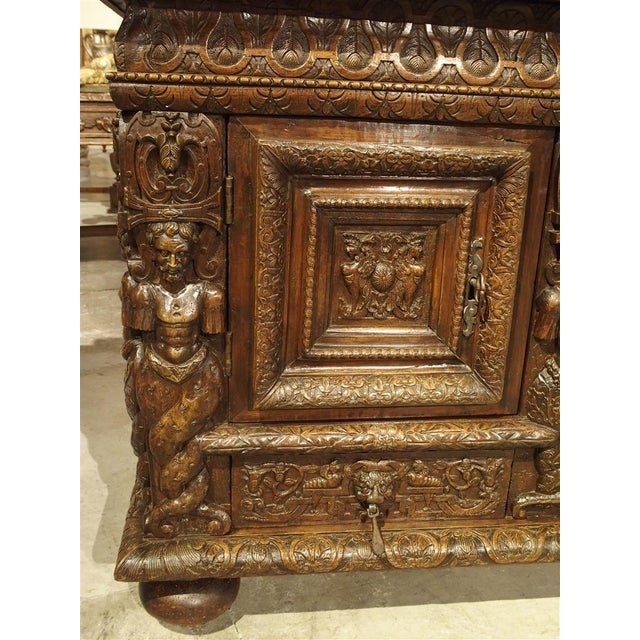 French Walnut Wood Renaissance Buffet For Sale In Dallas - Image 6 of 11
