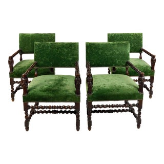 Renaissance Jacobean Arm Chairs with Green Velvet Upholstery - Set of 4 For Sale