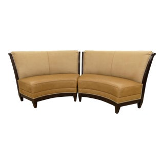 Stanford Furniture Leather & Suede Garrett Curved Dining Bench or Banquette- a Pair For Sale