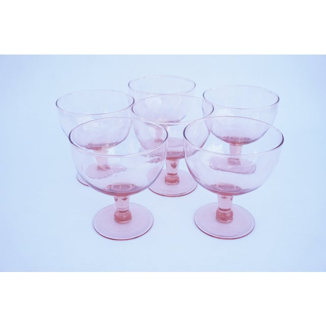 Set of 6 Vintage Pink Stemmed Glasses | Wine Goblets | Champagne Coupes | Sorbet/Berry Cups | Candy Dish ||+1 Bonus Glass Included For Sale In Los Angeles - Image 6 of 11