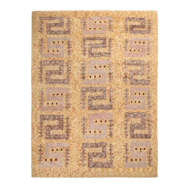 Rug & Kilim's Scandinavian-Inspired Geometric Golden-Yellow Gray Wool Rug For Sale