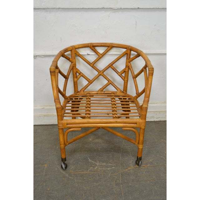 McGuire Style Rattan Bamboo Barrel Back Club Chairs - a Pair For Sale - Image 11 of 13