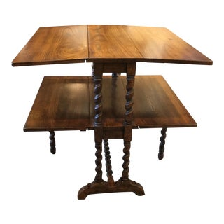 English Oak Barley Twist Gate Leg Side Table