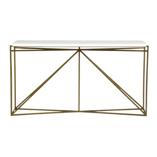 Contemporary Gabby Home Brass/White Inlay Console Table For Sale