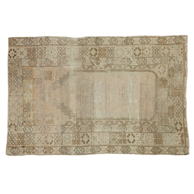 "Vintage Oushak Prayer Rug Runner - 3'2"" X 4'9"" - Image 1 of 7"