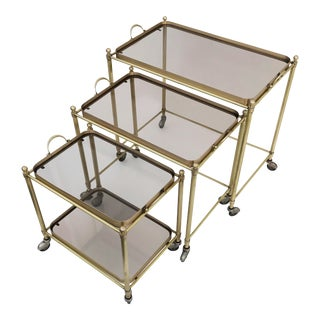 1950s Vintage Maison Lancel Nesting Tables- Set of 3 For Sale