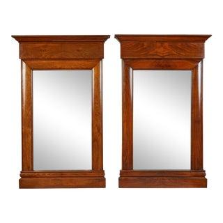 19th C. Biedermeier Mahogany Wall Mirrors- A Pair For Sale