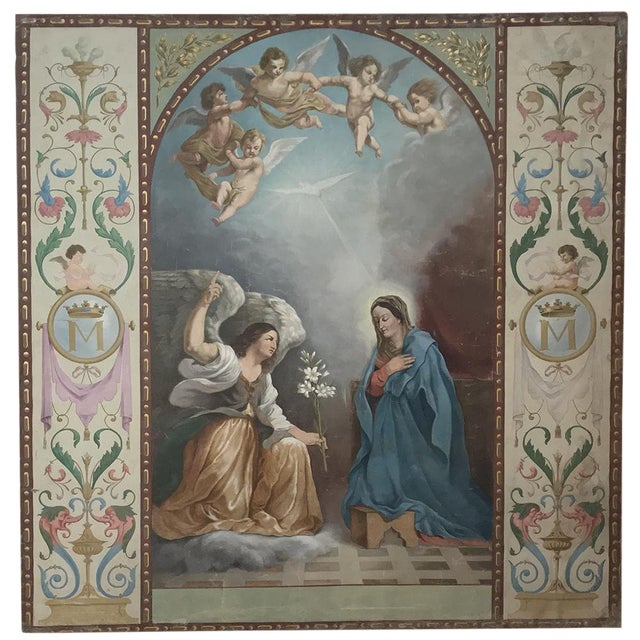 19th Century Grand Oil Painting on Canvas of the Annunciation For Sale