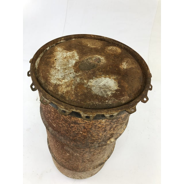 Vintage Industrial Metal Oil Barrel With Lid For Sale - Image 9 of 13