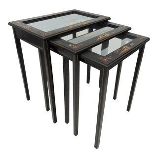 Vintage Black Japanned Nesting / Side Tables - Set of 3 For Sale