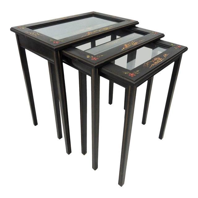 Vintage Black Japanned 'Pagoda & Landscape' Asian Glass Top Nesting / Side Tables - Set of 3 For Sale