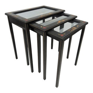 Vintage Black Japanned 'Pagoda & Landscape' Glass Top Asian Nesting / Side Tables - Set of 3 For Sale