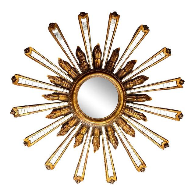 1950s Large Italian Convex Sunburst Giltwood Wall Mirror For Sale
