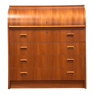 Modern Teak Drum Roll Secretary Desk For Sale