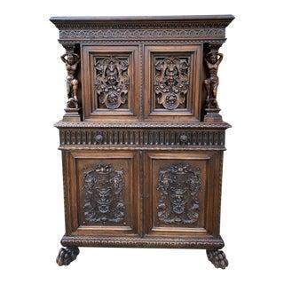 Antique French Renaissance Revival Walnut Chest Cabinet For Sale