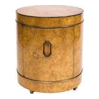Mastercraft Burl Wood Drum Bar Cabinet End Table For Sale