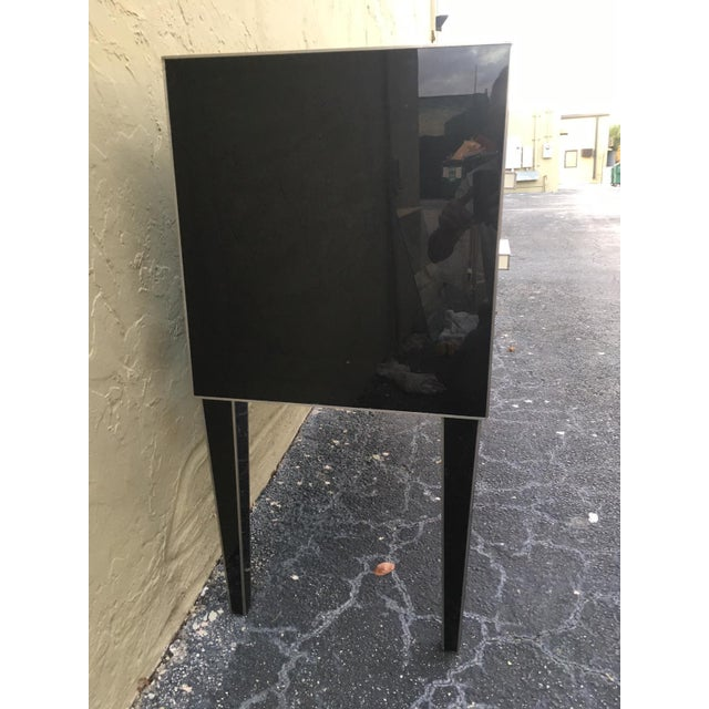 New Chest of Drawers in Black Mirror and Aluminium With White Glass Handle For Sale - Image 10 of 11