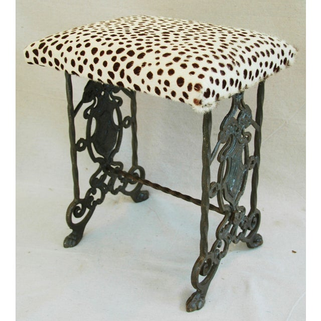 1930s Iron & Cheetah Spotted Cowhide Bench - Image 2 of 11